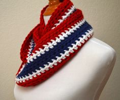 Red, White and Blue Striped Infinity Scarf, Crocheted Scarf, New England Patriots, New York giants, Buffalo Bills, Houston Texans, Titans