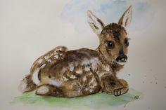 Aquarell - Süßes Bambi Reh Aquarell Original - ein Designerstück von Annett-Art bei DaWanda