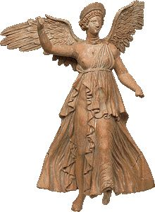 Figurine of a Nike. On the wings the inscription KRATE and KRATERA. 2nd c. B.C.