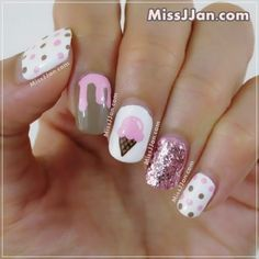 Hope the sweet dessert manicure brings you a sweet feeling, and the whole 2020 to be happy ~ Pretty Nail Art, Cute Nail Art, Cute Nails, Food Nail Art, Birthday Nail Art, Unicorn Nail Art, Ice Cream Nails, Nail Art For Kids, Nagel Gel