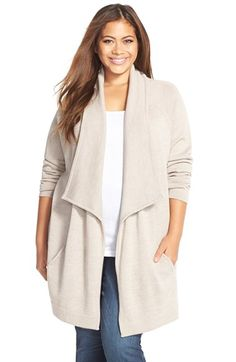 Plus Size Women's Tart 'Bain' Drape Front Merino Sweater Coat