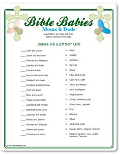 Easy Baby Shower Games | Bible Babies Moms and Dads - Baby Shower Game