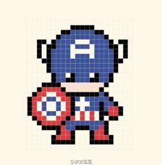 Captain America Perler Bead Pattern