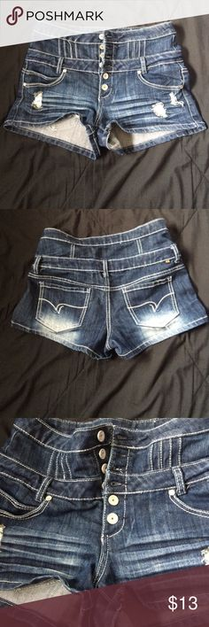 High Waisted Dark Jean Short (11) Super cute. High waisted. Button down! Small and larger pockets. Shorts