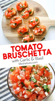 Tomato bruschetta with garlic and basil the perfect party appetizer when you re in a pinch A simple recipe jam packed with aromatic garlic your guests are sure to devour it bruschetta bruschettarecipes partyappeticzers partysnacks easyapps easyappetizers Veggie Appetizers, Quick Appetizers, Easy Appetizer Recipes, Appetizers For Party, Seafood Appetizers, Easy Party Recipes, Veggie Party Food, Food For Parties, Christmas Appetizers