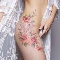 Tattoo artist Silo, author's gentle flowers tattoo, watercolor, tattoo for girls | Korea