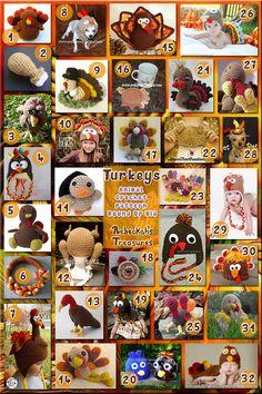 Turkeys: Roundup of 32 crochet patterns via @beckastreasures