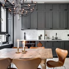 Countryside kitchen goals 📸 by featuring the Series chair in luxurious leather. Home Decor Kitchen, Kitchen Interior, Home Kitchens, Dark Grey Kitchen Cabinets, Painting Kitchen Cabinets, Countryside Kitchen, Charcoal Kitchen, Interior Design Living Room, Kitchen Remodel