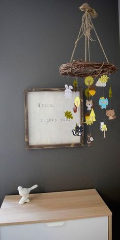 Woodland Forest Animal Paper Mobile Chandelier by TrueLoveAndPaper ( actually pinning for the framed pic...so cute! )