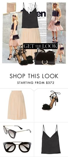 """""""Aquazurra Wild Thing Fringe Sandals"""" by cjfdesign ❤ liked on Polyvore featuring Rochas, Aquazzura, Prada, Protagonist, Chloé, BloggerStyle and gethelook"""