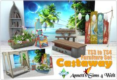 """Annett's Sims 4 Welt: TS3 to TS4 Furniture Set """"Castaway"""""""