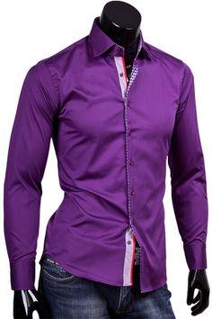 Купить Фиолетовая приталенная рубашка с высоким воротником фото недорого в Москве
