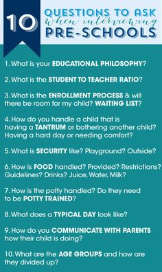 10 questions to ask when interviewing pre-schools