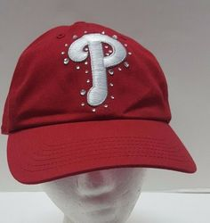 7a0cc26a72d Victorias Secret PINK Red Philadelphia PHILLIES Hat MLB BLING Cap Crystals  OSFA  NewEra  BaseballCap