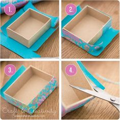 Turkosa askar med snygga hörn – Turquoise boxes with pretty cornersTurquoise boxes - by Craft & Creativity Tutorial on how to get pretty corners when covering boxes with paper.How to get pretty corners when covering boxes- I always have bad corner Fun Crafts, Diy And Crafts, Arts And Crafts, Paper Crafts, Cardboard Crafts, Upcycled Crafts, Diy Paper, Fabric Crafts, Craft Gifts