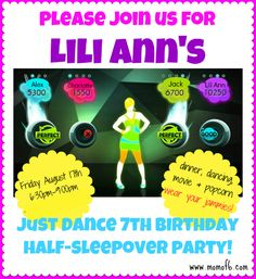 7 Year Old Girl Birthday Party Idea: Just Dance Half-Sleepover Party! - MomOf6 — MomOf6