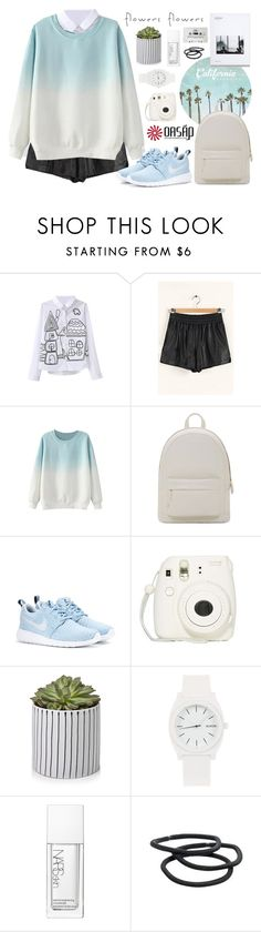 """""""Flowers and dreams   Oasap 15"""" by alexandra-provenzano ❤ liked on Polyvore featuring WALL, PB 0110, NIKE, Fujifilm, Nixon, CASSETTE, NARS Cosmetics and Goody"""