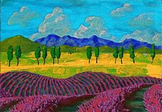"""Lavender In Provence, 2014 acrylic on canvas board 5"""" x 7"""" © copyright Mike Kraus  Our bikes race up and down the gentle hills of Provence. Everything has a distinct texture, the colors are vibrant, and the perfume in the air is intoxicating. And every twisting road we turn down has countless rows of purple and blue lavender. The heat of the Mediterranean sun presses against our backs as we pedal back to the village of Sault. I'll never forget the fields of France."""