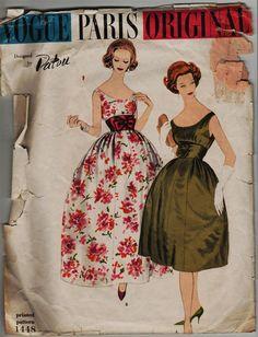 Vintage 1950s Patou Vogue 1448 Paris Original Dress Pattern bust 32