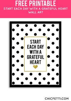 Free Printable Grateful Heart Art from @chicfetti - easy wall art diy