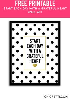 Free Printable Grateful Heart Art from @chicfetti - easy wall art diy