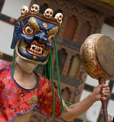 Colourful, hand-crafted masks used in religious rituals in Bhutan.