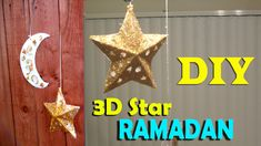 you will learn step by step how to make a Ramadan Decoration and in this video i am gonna start with the star and Crescent from paper . A Frame Swing, 3d Star, Ramadan Decorations, Party Decoration, Crafts For Kids, Projects To Try, Christmas Ornaments, Stars, Holiday Decor