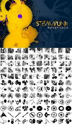 Steampunk Materials photoshop brushes! by dennytang.deviantart.com