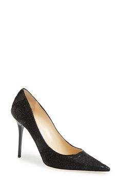 Jimmy Choo 'Abel' Glitter Lace Pointy Toe Pump (Women) available at #Nordstrom