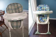 I bought the boys' high chair at a garage sale for $12.  It works extremely well for us, but I don't care for the style.  So I decided to make a new high chair cover.  The materials for the cover c...