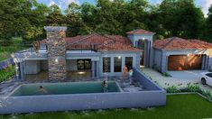 3 Bedroom House Plan - My Building Plans South Africa My Building, Building Plans, 5 Bedroom House Plans, Double Garage, South Africa, Beautiful Homes, Lounge, How To Plan, Mansions