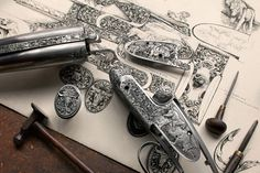 Vince Crowley Design for Westley Richards Metal Engraving, Custom Engraving, Engraving Ideas, Engraved Frames, Gun Art, Shooting Guns, Hunting Rifles, Firearms, Shotguns