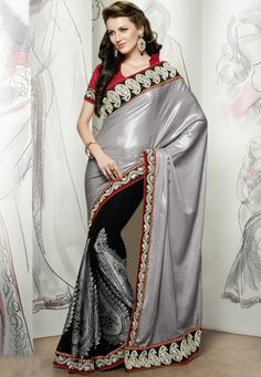 """Grey And Black #Banarasi #Jacquard,#Scurt #Viscose #Jacquard #Saree designed with Zari, resham embroidery with patch patta Work. And as shown Maroon Art #Silk #Blouse fabric is available which can be customize as per requirements.   INR:-5190 (With Discount 25% !! Use Coupon Code """"FLAT 25"""" To Avail The Discount)"""