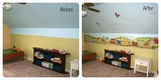 Country Trains Boys Room Decor. Before & After of a room decorated with custom stick-on mural decals by Muralistick. See more room themes and pictures at: www.muralistick.com