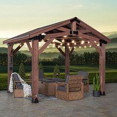 Outdoor Gazebos, Outdoor Rooms, Outdoor Structures, Outdoor Decor, Outdoor Furniture, Roof Structure, Shade Structure, Cedar Stain, Cedar Lumber