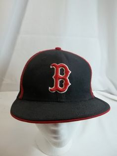 Boston Red Sox Cap Hat 100% Wool Black New Era 7 1 8 Fitted c48bb9a7f