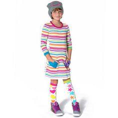 White Zany Stripe Dress #tweenfashion #littlemissmatched