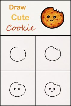 Learn how to draw a cute Cookie step by step ♥ v. Learn how to draw a cute Cookie step by step ♥ very simple tutorial Cute Disney Drawings, Cute Easy Drawings, Art Drawings For Kids, Cute Kawaii Drawings, Doodle Drawings, Drawing For Kids, Learn Drawing, Cookie Drawing, Candy Drawing
