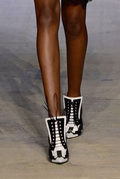 Lace-up black and white booties at Givenchy spring '16.