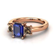 d5235e0a15e Hannah Ring - Emerald Blue Sapphire 14K Rose Gold Ring with Smoky Quartz