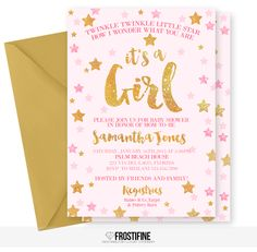 Glamorous baby shower invitation for your modern twinkle twinkle little star party theme. Pink and light pink with gold glitter details. Perfect baby shower card to invite your guests to most amazing party of the year.