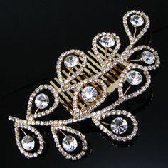 White Swarovski Rhinestone Wedding Bridal Hair Comb Jewelry Headpieces SKU-10806455