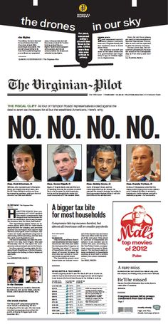"Every Hampton Roads lawmaker voted ""no"" on the fiscal cliff deal. The Virginian-Pilot front page for Thursday, Jan. 3, 2013."