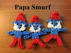 Rainbow Loom PAPA SMURF - Original Design and loomed by Marlene Barressii of MarloomZ Creations. Click photo for YouTube tutorial.