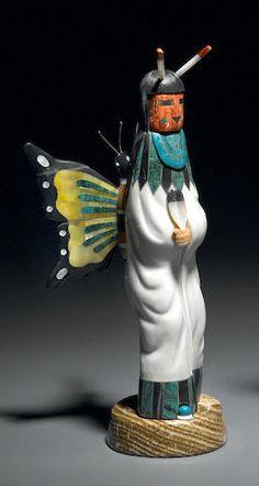 "Carved and Inlaid Gemstone Kachina--""The Butterfly Maiden"" By Pedro Jimenez III, ""Blue Elk"" Sedona, Arizona"