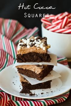 Hot Cocoa Squares on MyRecipeMagic.com These bars start with a cake mix. The homemade hot chocolate buttercream will melt in your mouth!