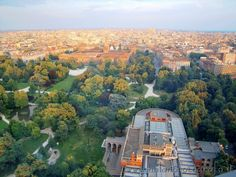 Milan seen from top of the Branca Tower: Triennale Palace in front, then, middle left, the Sforza Castle.