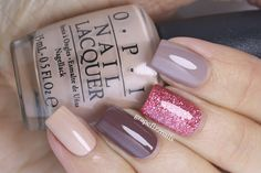 Brown and pink glitter skittle mani, Grape Fizz Nails
