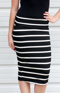 Make a statement with this bold pencil skirt with a loose knit feel you'll feel so comfortable all day! $26.50