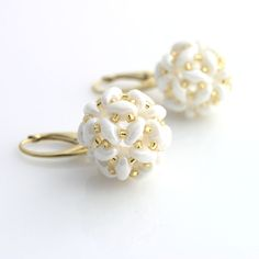 Superduo beaded ball - earrings